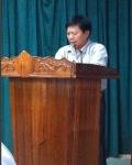 Đ/c Lê Đình Nuôi, chủ tịch công đoàn trình bày báo cáo tại hội nghị